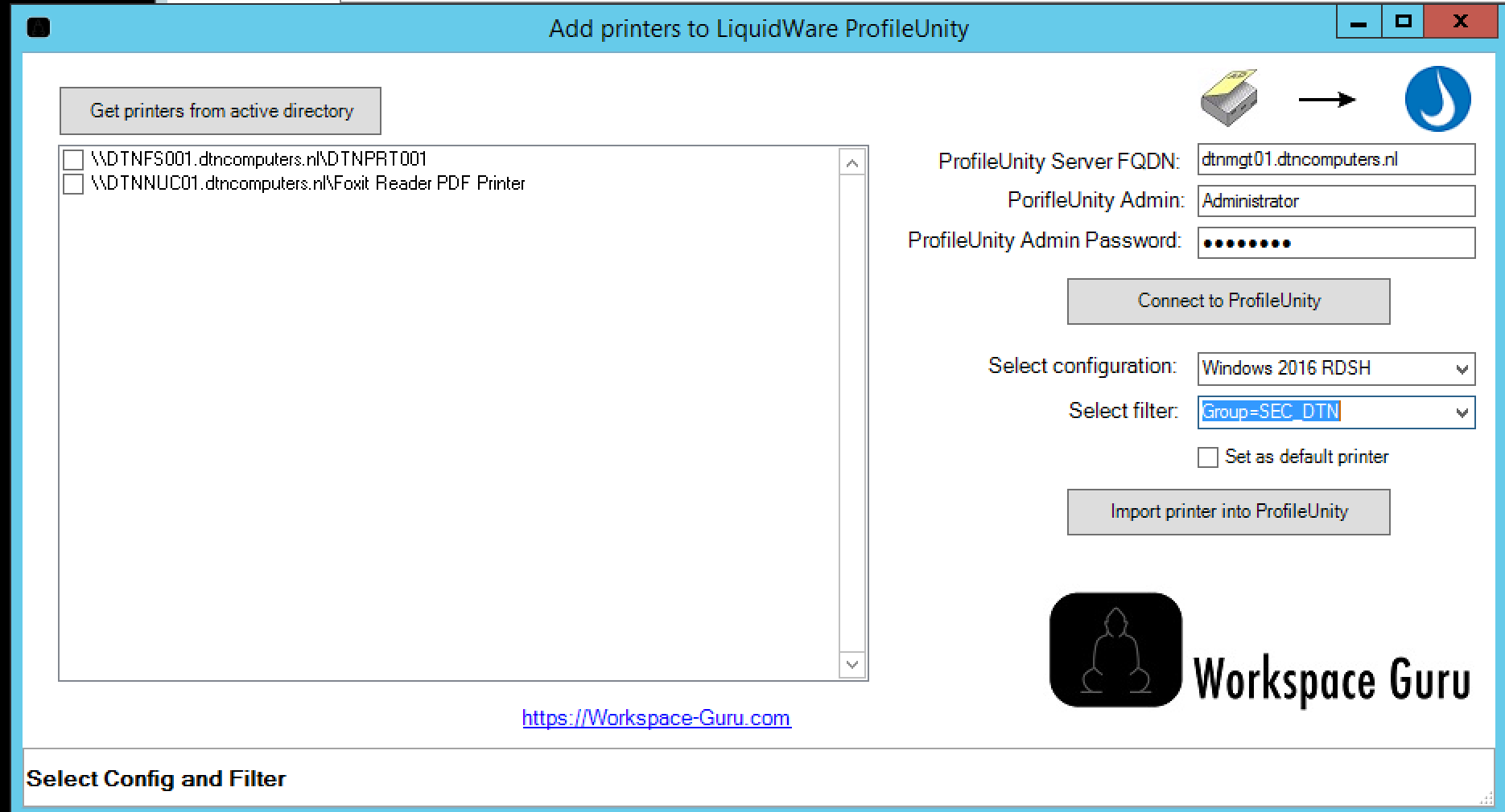 Liquidware ProfileUnity Printer Tools import from Active