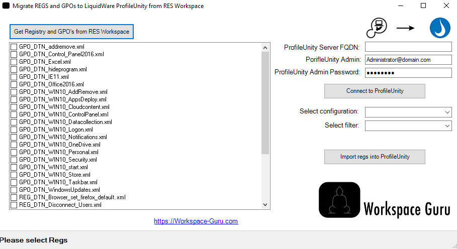 Liquidware ProfileUnity Tool to import Registries from GPO and RES